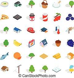 Umbrella icons set, isometric style