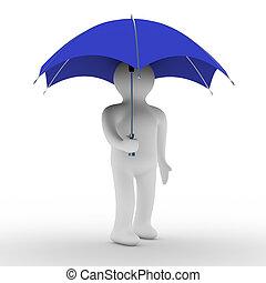 umbrella., image, isolé, sous, homme, 3d