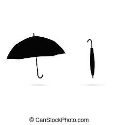 umbrella in black on white background
