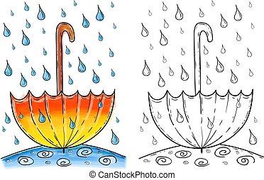 Umbrella in rain, watercolor artwork