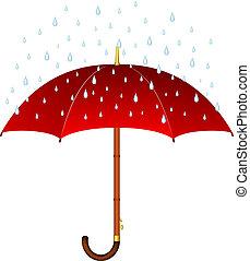 Umbrella in red design on white background