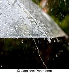 Umbrella in the rain in vintage tone