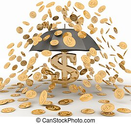 umbrella in the rain of coins. 3d illustration on white...