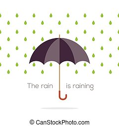Umbrella In The Rain. - Umbrella In The Rain Vector...