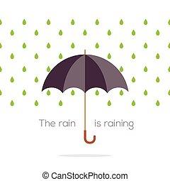 Umbrella In The Rain Vector Illustration.