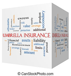 Umbrella Insurance 3D cube Word Cloud Concept with great ...