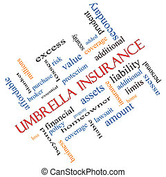 Umbrella Insurance Word Cloud Concept Angled - Umbrella...