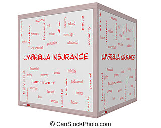 Umbrella Insurance Word Cloud Concept on a 3D cube Whiteboard