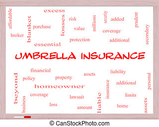 Umbrella Insurance Word Cloud Concept on a Whiteboard