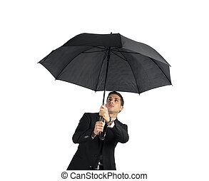 umbrella., isolé, concept, fond, crisis., homme affaires, blanc