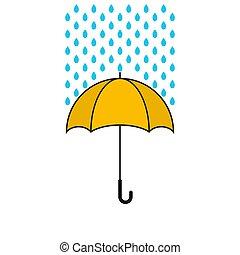 umbrella., jaune, vecteur