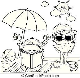umbrella., kleuren, eten, kinderen, vector, watermeloen, snede, onder, black , witte , lezende , strand, boek, pagina