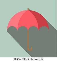 Umbrella long shadow flat vector