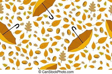 umbrella., modèle, feuilles, seamless, jaune, automne, pluie