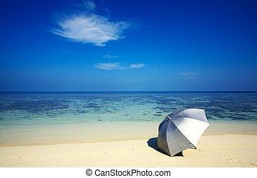 umbrella on a beach - Argent umbrella is on a sandy beach