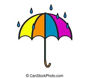 Umbrella on a white background. Cartoon. Vector
