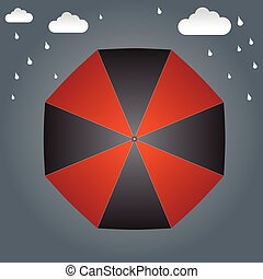 Umbrella on the top and rain background vector