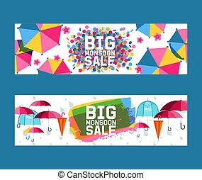 Umbrella open and closed set of banners vector illustration. Big mansoon sale. Flat icons isolated on white. Rain colorful protection symbol. Rainy weather sign. Happy mood, luck, safety