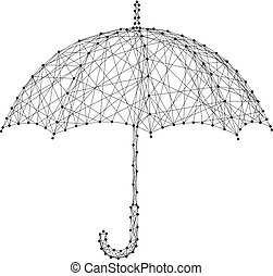 Umbrella opened from the rain from abstract futuristic polygonal black lines and dots. Vector illustration.