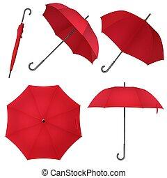 umbrella., parapluie, illustration., classique, photo, pluie, réaliste, vecteur, vide, rond, rouges