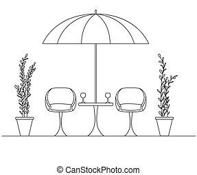 umbrella., plier, deux, grand, fauteuils, table.