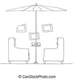 umbrella., plier, deux, illustration, main, grand, vecteur, fauteuils, dessiné, table.