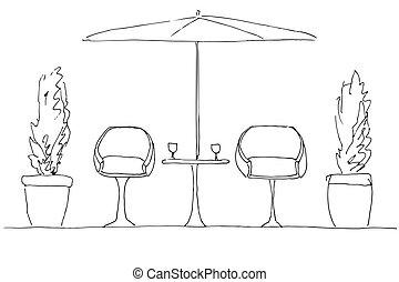 umbrella., plier, deux, main, grand, fauteuils, dessiné, table.