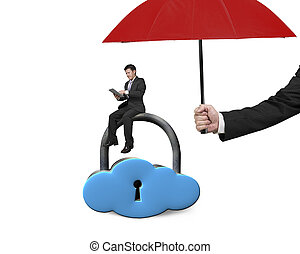 umbrella protect businessman using tablet on cloud lock