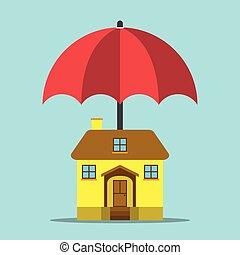Umbrella protecting house