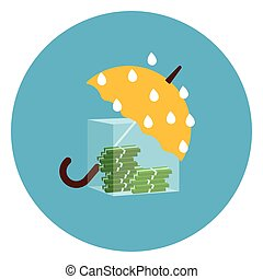 Umbrella Protecting Money From Rain Icon Web Button On Round Blue Background