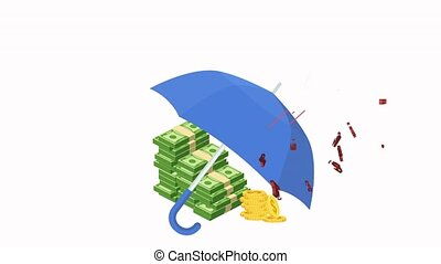 Umbrella protects money from COVID 19. Protecting the global financial system from the impact of the coronavirus pandemic. Flat 2D animation.