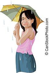 umbrella., ragazza, vettore