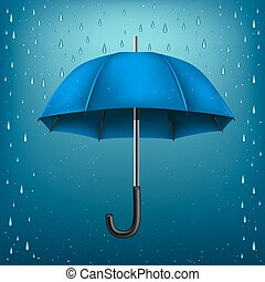 umbrella rain blue background