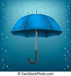 umbrella rain blue background
