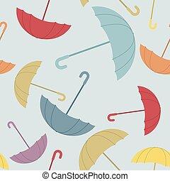 Umbrella seamless pattern. Many of colour opened umbrellas. Cute texture protection from rain. Retro fabric ornament.