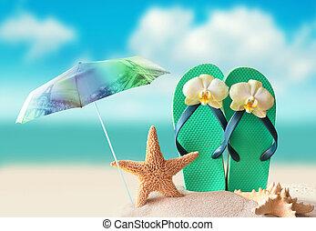 umbrella., seestern, schnellen, kuesten, pleiten, sandstrand, sandig