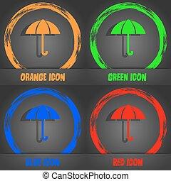 Umbrella sign icon. Rain protection symbol. Fashionable modern style. In the orange, green, blue, red design. Vector
