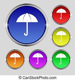 Umbrella sign icon. Rain protection symbol. Set colourful buttons. Vector illustration