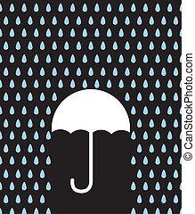 Umbrella Silhouette Downpour - Umbrella silhouette in rain...