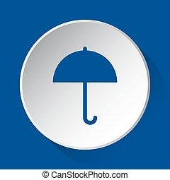 umbrella - simple blue icon on white button