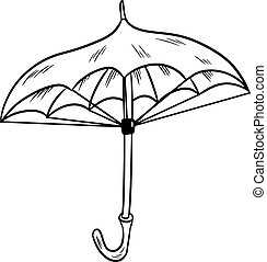 Umbrella sketch black and white isolated doodle