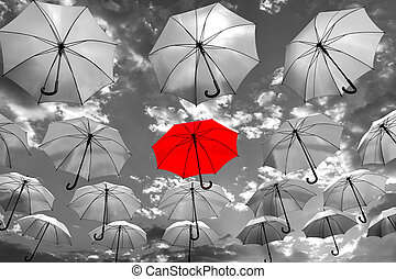 umbrella standing out from the crow