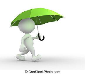 Umbrella - 3d people - man, person under green umbrella