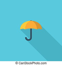Umbrella symbol. Vector illustration of flat color icon with long shadow.