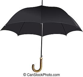 umbrella., vecteur, noir, ouvert, illustration