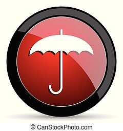 Umbrella vector icon. Modern design red and black glossy web and mobile applications button in eps 10