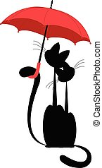 umbrella., vector., isolé, chat, amours, sous, dame, rouges