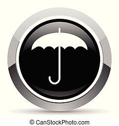 Umbrella vector steel icon. Chrome border round web button....