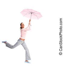 umbrella., volare, donna