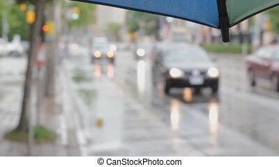 Umbrella w/ rainy defocused street.